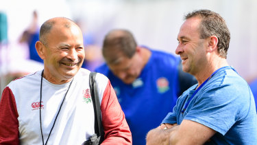 England coach Eddie Jones with Canberra NRL coach Ricky Stuart ahead of the World Cup.