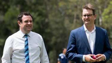 NSW Sports Minister Stuart Ayres (left) and Cricket NSW CEO Andrew Jones at Wilson Park on Monday.