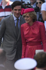 Actress Emma Corrin as Princess Diana on set for season four of Netflix's The Crown with Josh O'Connor as Prince Charles.