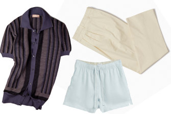 Riviera knit polo, $385, Christian Kimber; lounge shorts, $90, Venroy; Chinos, $350, P Johnson.