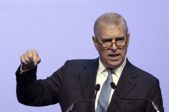 Britain's Prince Andrew delivers a speech in Thailand last year. The US wants to speak to him about what he knew of Jeffrey Epstein's habits.