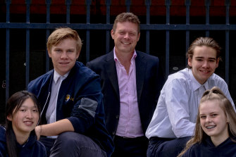 Narre Warren South P-12 College principal Rob Duncan with  students (from left) Joanne Chao, Jakub Hermanek, Tyler Hall and Charli Duncan.