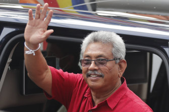 Sri Lankan President Gotabaya Rajapaksa leaves after casting his vote in Colombo, Sri Lanka, on Wednesday.