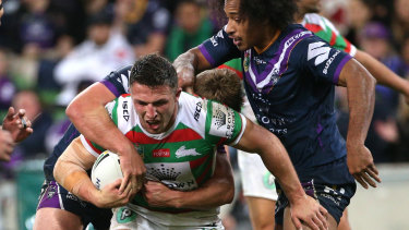 Looking for improvements: Sam Burgess had a tough night against the Storm.