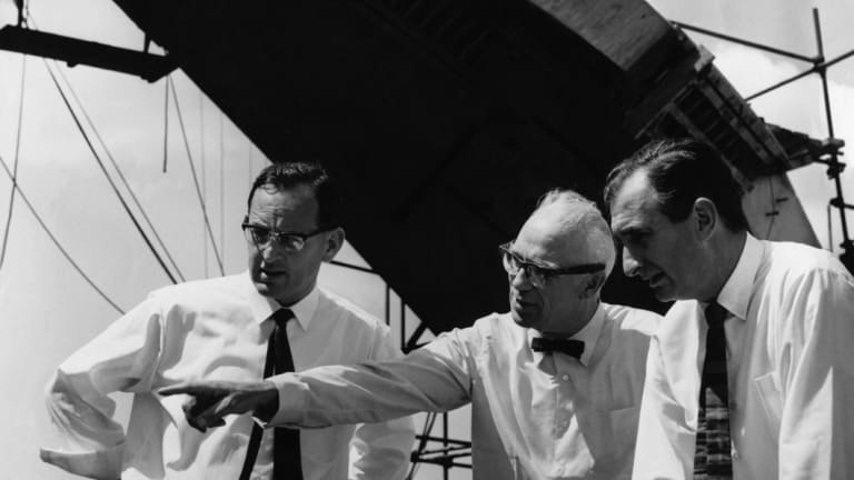 From left: Michael Lewis, Sir Ove Arup and Sir Jack Zunz in 1966.
