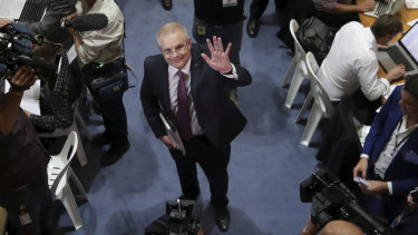 Treasurer Scott Morrison meets the media on Tuesday before his budget speech.