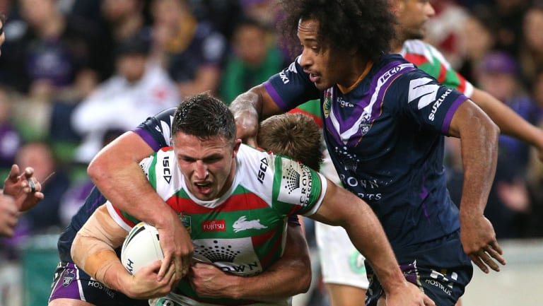 The full 80: Sam Burgess had a tough night against the Storm.