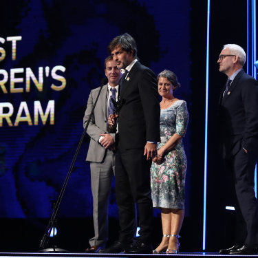 """Joe Brumm accepting an AACTA award in 2019. """"If the show is saying anything to parents,"""" he says, """"it's like, 'Man, what is this thing we've got involved in? …This is really difficult.' """""""