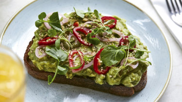 Avocado toast at Two Hands in New York.