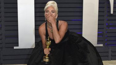 Oscar winner Lady Gaga at the Vanity Fair Oscar Party on Sunday.