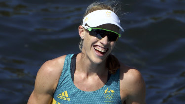 Kim Brennan after winning the women's single sculls gold medal in Rio in 2016.
