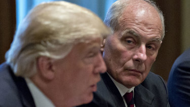"White House chief of staff John Kelly, right, called Donald Trump an ""idiot"", the new book claims."