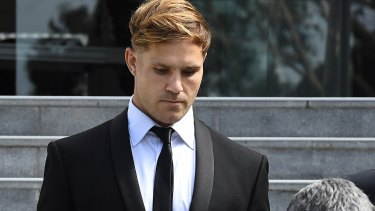 Jack de Belin leaves Wollongong court this week after the jury could not agree on a verdict. His career remains in limbo.