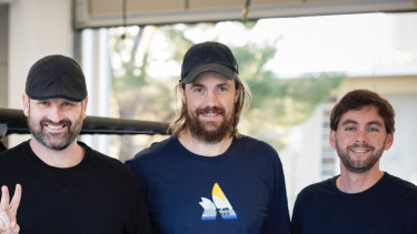 Tim Kentley-Klay (left) with Mike-Cannon Brookes and Jesse Levinson