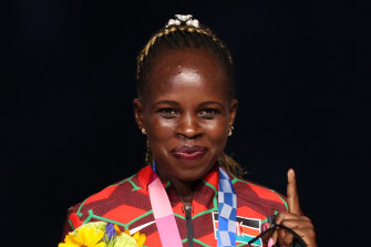 Gold medallist Peres Jepchirchir of Kenya at the medal ceremony during the closing of the Tokyo Games.
