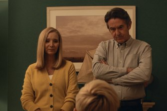 Lisa Kudrow and Adrian Lukis in the black comedy series Feel Good.