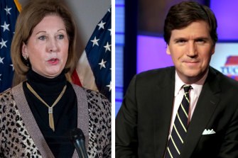 Trump's lawyer Sidney Powell, left, and Fox News host Tucker Carlson.