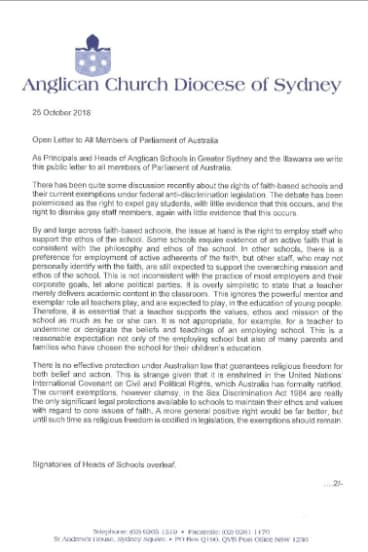 The letter to federal MPs signed by the heads of 34 Anglican schools.
