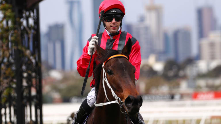Correct weight; Jockey Brenton Avdulla returns to the scale after riding Smart Melody to victory in race 2, the Cap D'Antibes Stakes at Flemington Racecourse on Saturday.