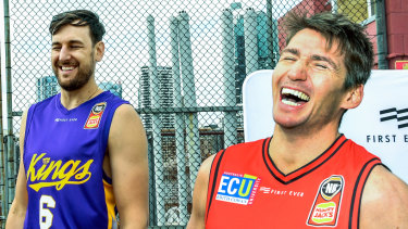 Serious stuff starts soon: Bogut jests with Perth Wildcats point guard Damian Martin.