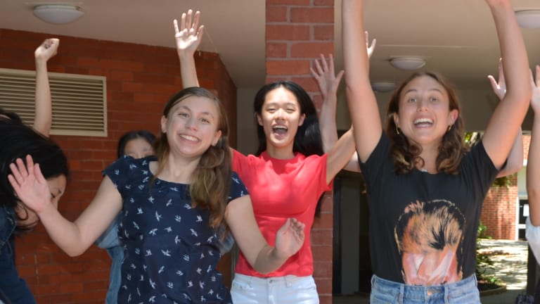 IB students at Lauriston Girls' School celebrate their results.