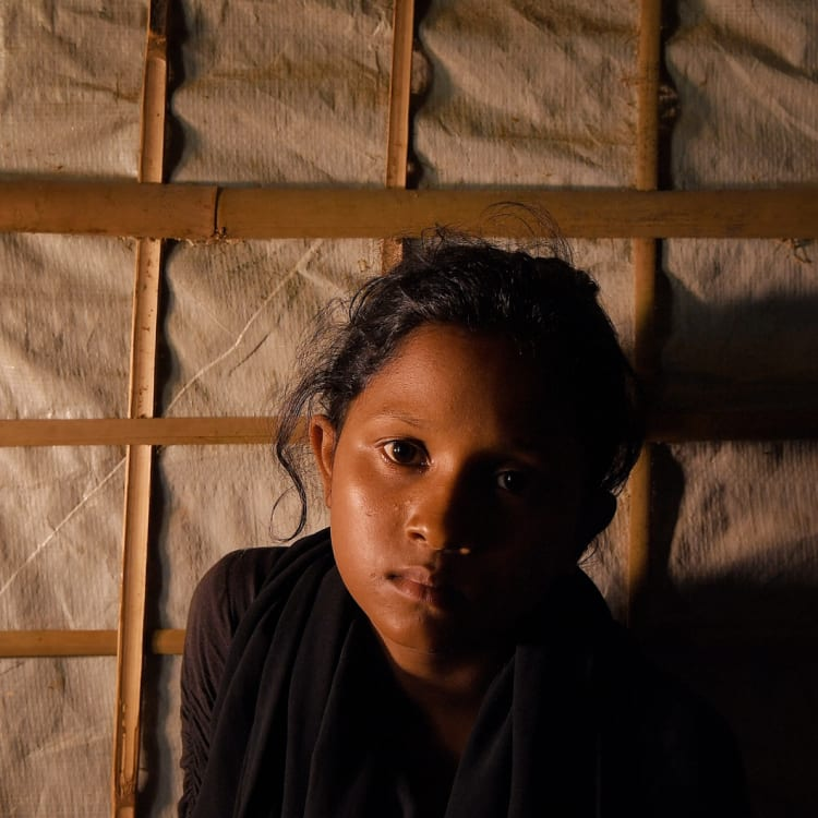 Yasmin Akhter, 13, at the Kutpalong refugee camp in Bangladesh.