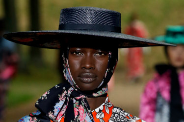 Model Fatou Jobe walking on the runway Erdem Fashion Show during London Fashion Week Womenswear Spring / Summer 2020 held in London, UK on September 16, 2019. (Photo by Jonas Gustavsson/Sipa USA) x