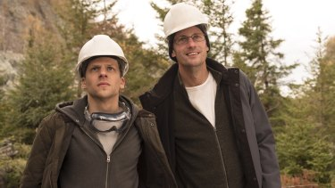Jesse Eisenberg and Alexander Skarsgard play scheming cousins in The Hummingbird Project.
