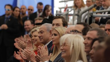 From left: Israeli Prime Minister Benjamin Netanyahu's wife Sara, Metanyahu, Ivanka's husband Jared Kushner, Ivanka Trump, and US Treasury Secretary Steve Mnuchin, attend the controversial opening of the new American embassy in Jerusalem.