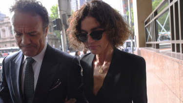 Danielle Vagner outside court on Wednesday with her ex-husband and Kookai co-owner Rob Cromb.