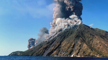 Smoke billows from the volcano on the Italian island of Stromboli.