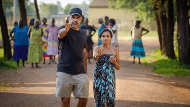 Director Wayne Blair and Tapsell on the set of Top End Wedding.