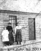 Marie Hayes' mother, Tess, left, aunt Polly and Ada Maine in 1901 outside the family house, 42 Cumberland Place, near Little Lonsdale Street .