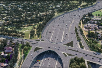 An artist's impression of the widened Eastern Freeway, part of the North East Link project.