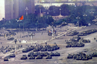 Troops and tanks gather in Beijing on June 5, 1989, one day after the military crackdown.