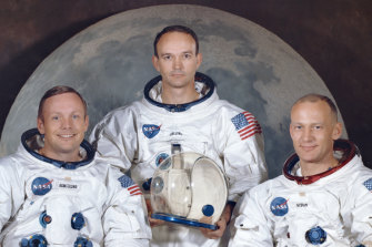 """The crew of the Apollo 11, from left, Neil Armstrong, commander; Michael Collins, module pilot; Edwin E. """"Buzz"""" Aldrin, lunar module pilot. Apollo 11 was the first manned mission to the surface of the moon."""