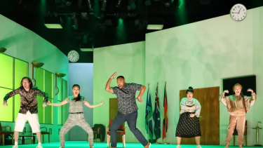From left: Gareth Davies, Michelle Lim Davidson, Anthony Taufa, Nakkiah Lui and Vanessa Downing in <i>How to Rule the World</i>. Photo: Prudence Upton