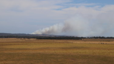 The fire burning in Glen Forbes taken from the South Gippsland Highway at Lang Lang.