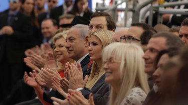 From left: Israeli Prime Minister Benjamin Netanyahu 's wife Sara, the Prime Minister, Senior White House Advisor Jared Kushner, US President's daughter Ivanka Trump, US Treasury Secretary Steve Mnuchin, attend the opening ceremony of the new American embassy in Jerusalem.