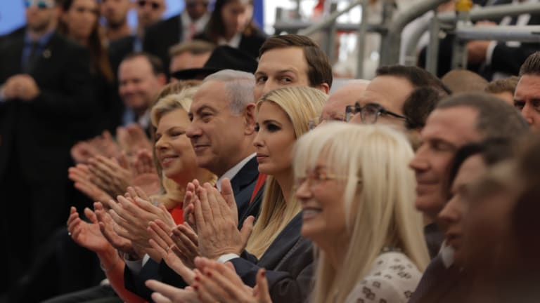 From left: Israeli Prime Minister Benjamin Netanyahu 's wife Sara, the Prime Minister, Senior White House Advisor Jared Kushner, US President's daughter Ivanka Trump, US Treasury Secretary Steve Mnuchin, attend the opening ceremony of the new American embassy in Jerusalem.