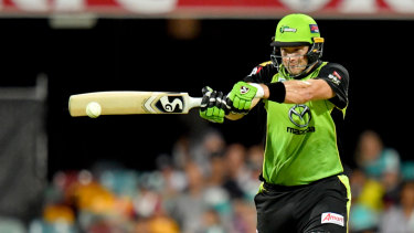 Shane Watson of the Thunder in action during the Big Bash League