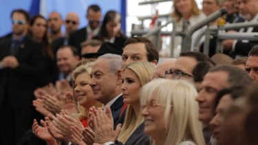 From left: Israeli Prime Minister Benjamin Netanyahu's wife Sara, Metanyahu, Ivanka's husband Jared Kushner, Ivanka Trump, and US Treasury Secretary Steve Mnuchin, attend the controversial opening of the new American embassy in Jerusalem.