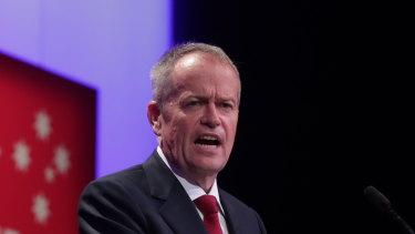 Opposition Leader Bill Shorten addresses the ALP conference in Adelaide on Sunday.