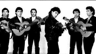The Gipsy Kings in 1989: (l to r) Nicolas Reyes, Paco Baliardo, Chico Bouchikhi, Andre Reyes, Tonino Baliardo, Diego Baliardo