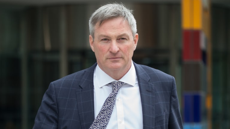 Westpac's commercial head of lending, Alistair Welsh, leaving the banking royal commission on Tuesday.