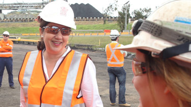 Queensland Premier Annastacia Palaszczuk at Hay Point coal terminal in Mackay on Wednesday.