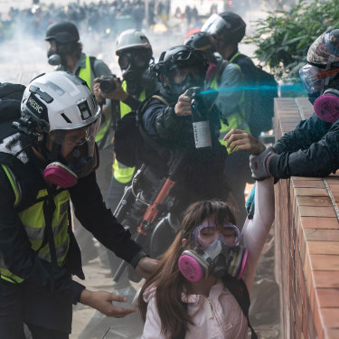 Protesters and police clash at the Hong Kong Polytechnic University on November 18.