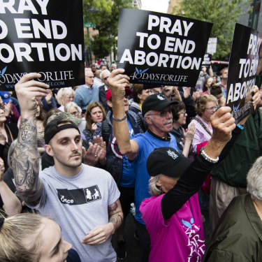 Anti-abortion protesters rally near a Planned Parenthood clinic in Philadelphia.