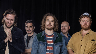 Boy and Bear band members, Killian Gavin, Dave Symes, Dave Hosking, Jon Hart and Tim Hart. The Sydney band are about to release their second album. Soundworks Studio, Marrickville. 5th August 2019 Photo: Louise Kennerley S MAGAZINE SUN HERALD