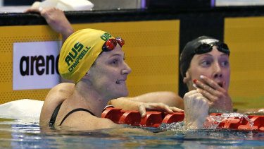 Rising to the occasion: Cate Campbell reacts after winning the women's 100m freestyle final at the Pan Pacs in Tokyo.